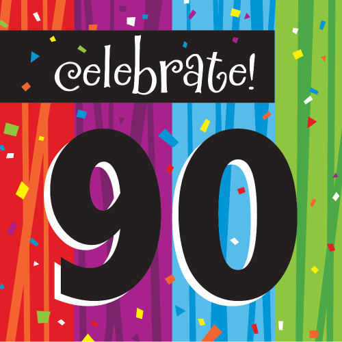 Club Pack of 192 Blue and Black 90 Milestone Celebrations Disposable Lunch Napkins 6.5 - IMAGE 1