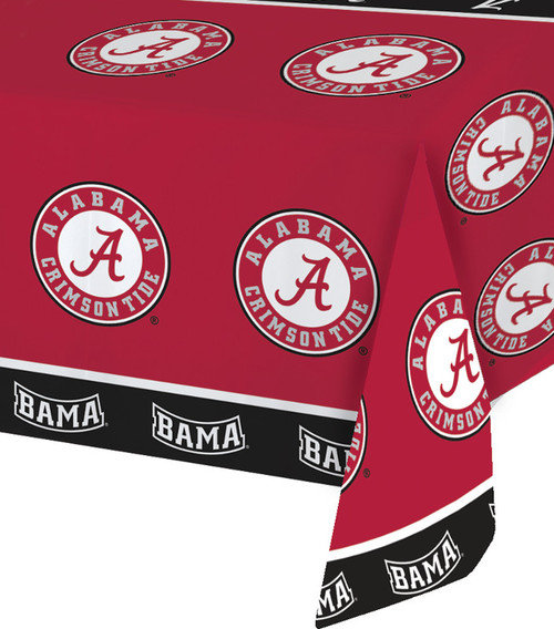 Club Pack of 12 Red and Black Univ of Alabama NCAA Disposable Banquet Party Table Covers 9' - IMAGE 1