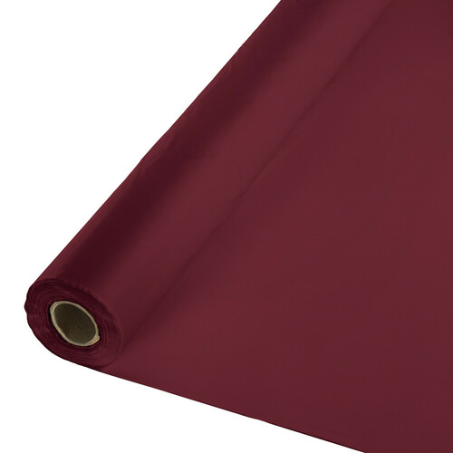 Pack of 2 Burgundy Red Disposable Plastic Banquet Party Table Cloth Rolls 100' - IMAGE 1