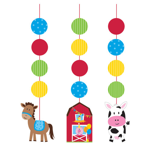 """3pc Multi Colored Farmhouse Fun Hanging Cutout Party Decorations 36"""" - IMAGE 1"""
