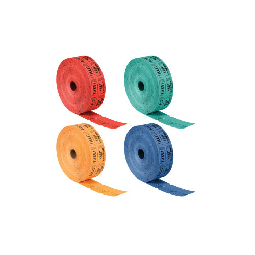 """Pack of 4 Red and Green 50-50 Raffle Decorative Party Ticket Rolls 1"""" - IMAGE 1"""