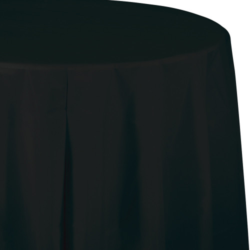 """Club Pack of 12 Jet Black Octy-Round Disposable Table Covers 82"""" - IMAGE 1"""