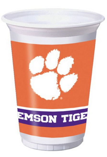 """Club Pack of 96 White and Orange NCAA Clemson University Tigers Drinking Tailgate Party Cups 7"""" - IMAGE 1"""