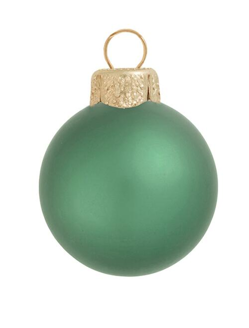"6ct Soft Green Matte Glass Christmas Ball Ornaments 4"" (100mm) - IMAGE 1"