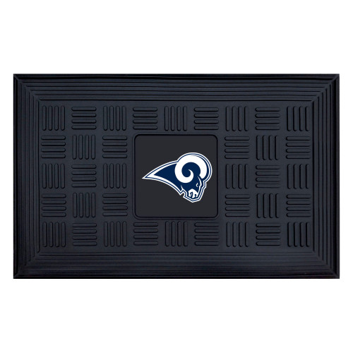 """19.5"""" x 31.25"""" White and Blue NFL Los Angeles Rams 3-D Team Medallion Doormat - IMAGE 1"""