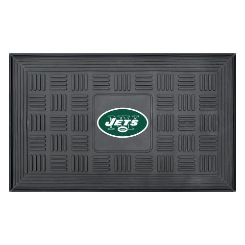 "19.5"" x 31.25"" Black and Green NFL New York Jets 3-D Team Medallion Doormat - IMAGE 1"