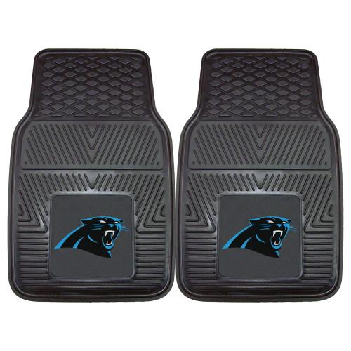 """Set of 2 Blue and Black NFL Carolina Panthers Car Mats 17"""" x 27"""" - IMAGE 1"""