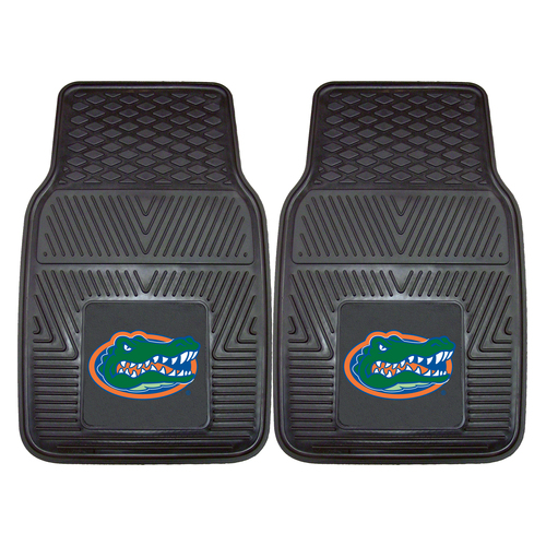 "Set of 2 Black and Green NCAA University of Florida Gators Car Mats 17"" x 27"" - IMAGE 1"
