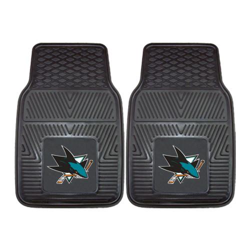 "Set of 2 Black and Blue NHL San Jose Sharks Front Car Mats 17"" x 27"" - IMAGE 1"
