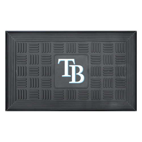 """19.5"""" x 31.25"""" Black and White MLB Tampa Bay Rays Team Medallion Outdoor Door Mat - IMAGE 1"""