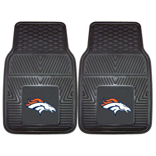 """Set of 2 Black and Orange NFL Denver Broncos Car Mats 17"""" x 27"""" - IMAGE 1"""