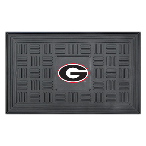 "19.5"" x 31.25"" Black and White NCAA University of Georgia Bulldogs Medallion Outdoor Door Mat - IMAGE 1"