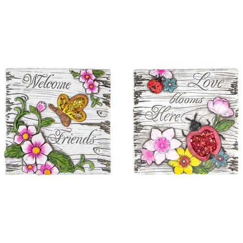 """Set of 2 Love Blooms and Welcome Friends Floral Outdoor Garden Stones 7"""" - IMAGE 1"""