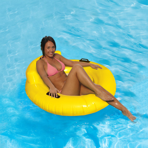 """43"""" Yellow Bubble Seat Inflatable Swimming Pool Float - IMAGE 1"""