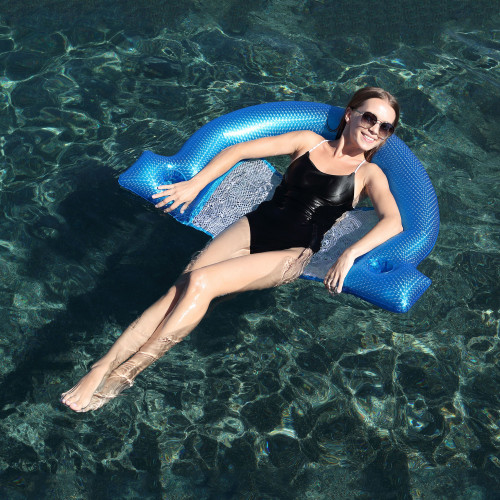 """45.5"""" Inflatable Blue Swimming Pool Mesh Sling Chair Pool Float - IMAGE 1"""