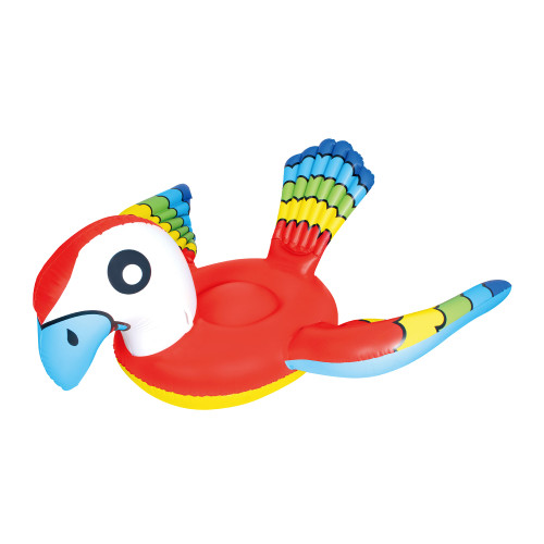 """87"""" Red and Blue Jumbo Parrot Ride-On Inflatable Swimming Pool Float - IMAGE 1"""