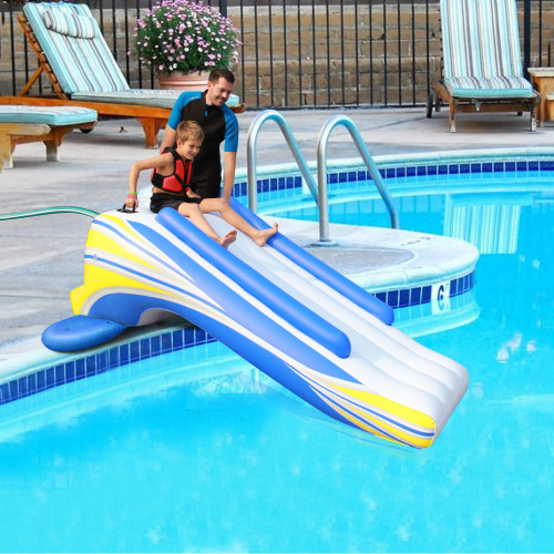 """106.25"""" Blue and Yellow Inflatable Swimming Pool Slide - IMAGE 1"""
