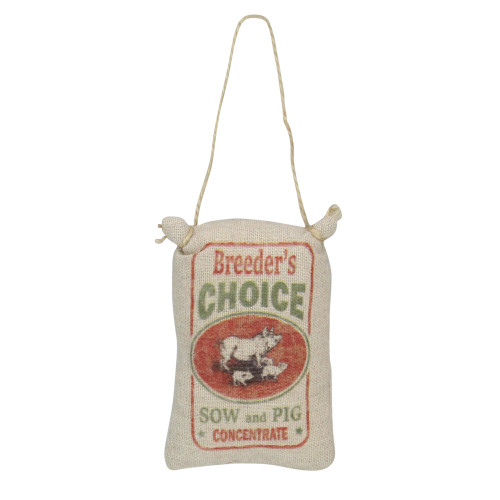 """4.5"""" Brown and Red Pig Sack """"Breeder's Choice"""" Plush Christmas Ornament - IMAGE 1"""