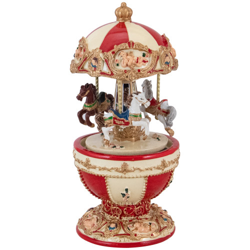 """7.25"""" Animated and Musical Horse and Cupid Carousel Music Box - IMAGE 1"""