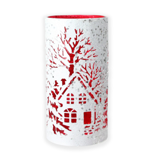 """8"""" Red and White Glittered Silhouette Christmas Pillar Candle Holder - IMAGE 1"""