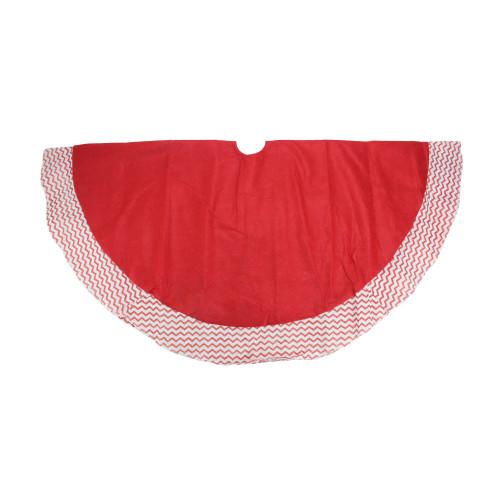 "48"" Red and White Glittered Chevron Border Christmas Tree Skirt - IMAGE 1"