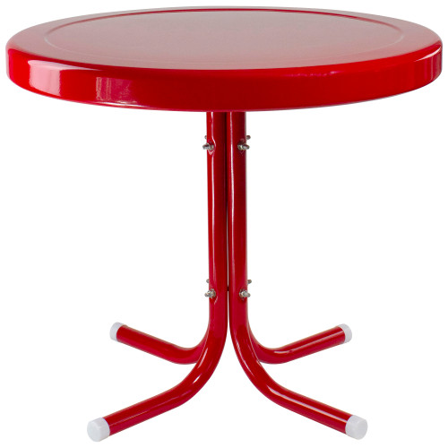 """22"""" Outdoor Retro Tulip Side Table, Red - IMAGE 1"""