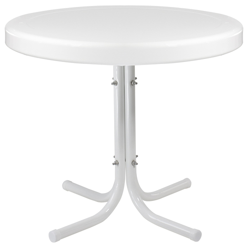 "22"" Outdoor Retro Tulip Side Table, White - IMAGE 1"