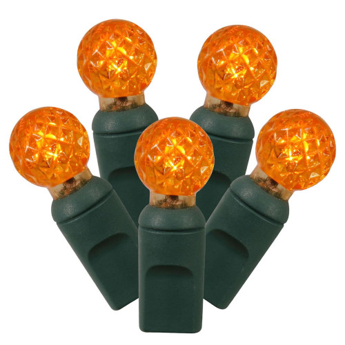 """Set of 100 Orange LED G12 Berry Christmas Lights 4"""" Spacing - Green Wire - IMAGE 1"""