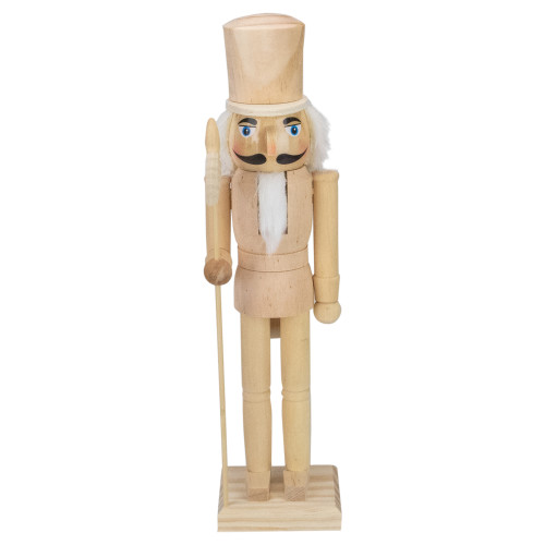 """15"""" Unfinished Paintable Wooden Christmas Nutcracker with Scepter - IMAGE 1"""