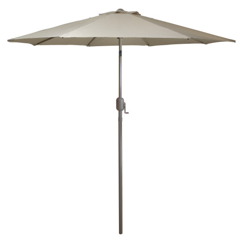 9ft Outdoor Patio Market Umbrella with Hand Crank and Tilt - Taupe - IMAGE 1