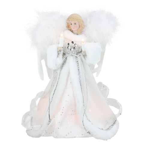 """12"""" Lighted White and Silver Sequin Angel Christmas Tree Topper - Clear Lights - IMAGE 1"""
