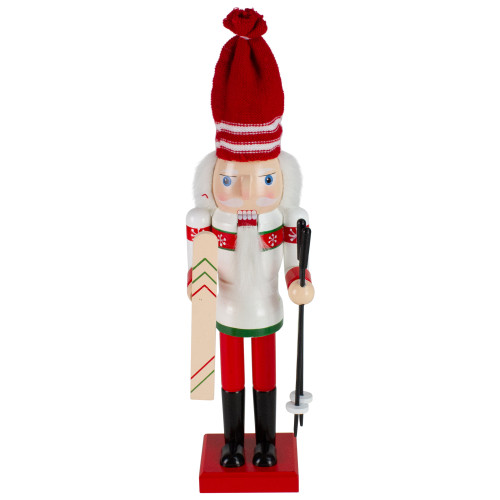 """14"""" Red and White Wooden Skiing Christmas Nutcracker - IMAGE 1"""