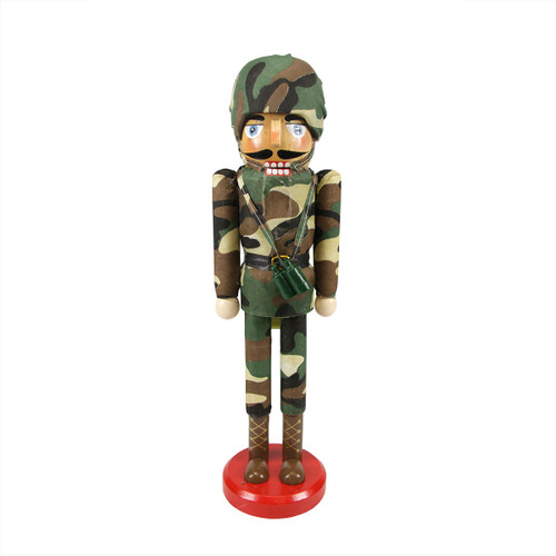 """14.25"""" Decorative Wooden Christmas Nutcracker Army Soldier in Camouflage Uniform - IMAGE 1"""