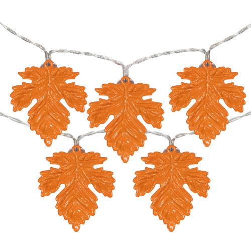 10-Count Warm White LED Thanksgiving Metal Leaves Fairy Lights, 5.5ft Copper Wire - IMAGE 1