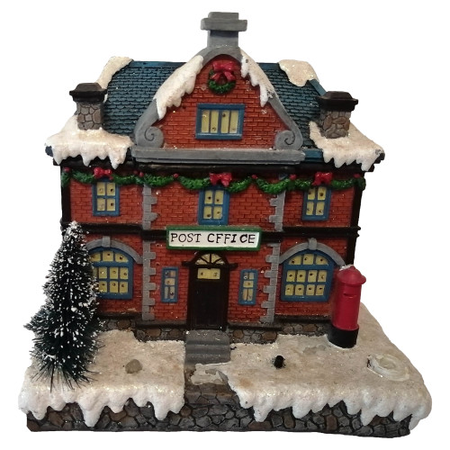 """6.9"""" Red Festive LED Lighted Post Office Christmas Village Building - IMAGE 1"""