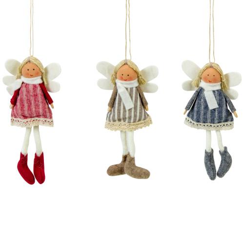 "Set of 3 Hanging Angel Doll Christmas Ornaments 6"" - IMAGE 1"