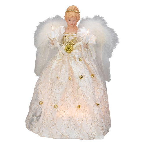 """12"""" Ivory and Gold Floral Angel Christmas Tree Topper - IMAGE 1"""