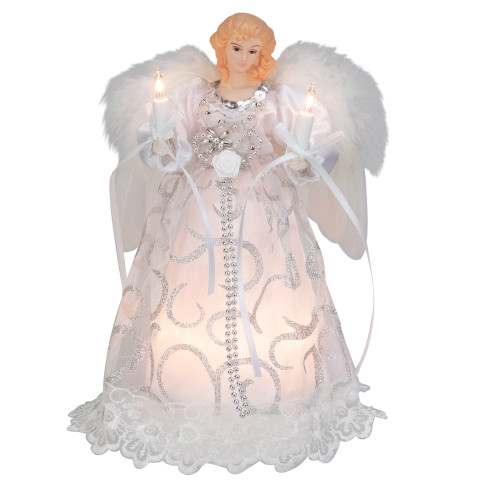 """9"""" White and Silver Elegant Angel Christmas Tree Topper - IMAGE 1"""