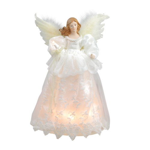 """14"""" Ivory and White Lighted Angel Christmas Tree Topper - Clear Lights - IMAGE 1"""