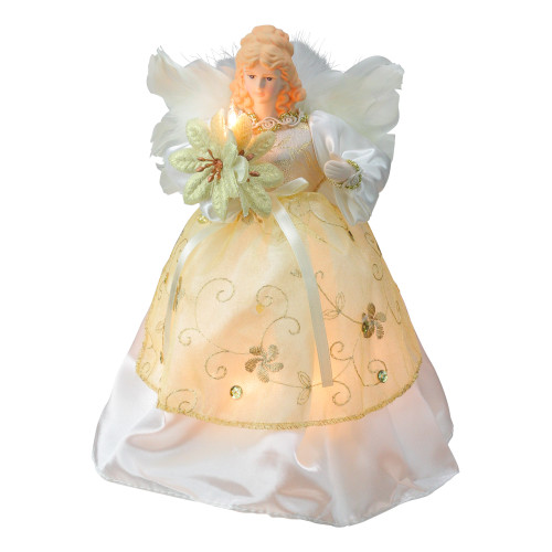 """9.5"""" Ivory and Gold Angel with Poinsettia Christmas Tree Topper - Clear Lights - IMAGE 1"""
