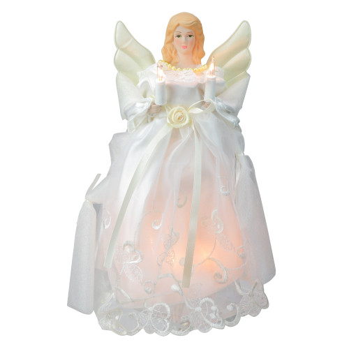 """10"""" Lighted White Floral Angel Christmas Tree Topper - Clear Lights - IMAGE 1"""