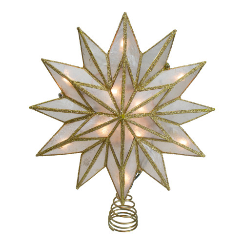 """8"""" Gold Three Dimensional Star Christmas Tree Topper - White Lights - IMAGE 1"""