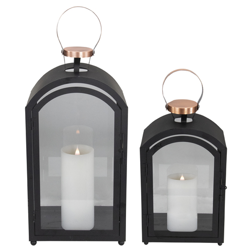 """Set of 2 Black Metal Dome Lanterns with Copper Handle 20"""" - IMAGE 1"""