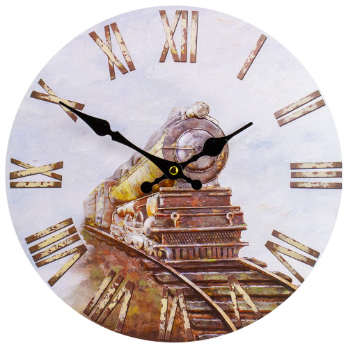 """12"""" Roman Numeral Battery Operated Round Wall Clock with Train Design - IMAGE 1"""
