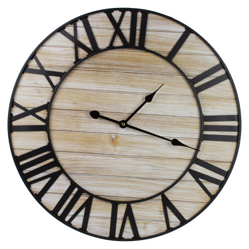 """24"""" Metal Framed Roman Numeral Battery Operated Round Wall Clock - IMAGE 1"""
