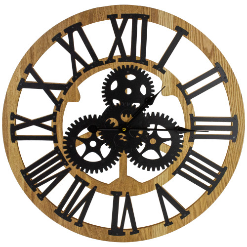 """24"""" Roman Numeral Battery Operated Round Wall Clock with Cogs - IMAGE 1"""