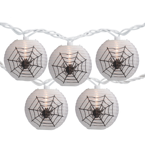 10-Count White Spider in Web Paper Lantern Halloween Lights, Clear Bulbs - IMAGE 1