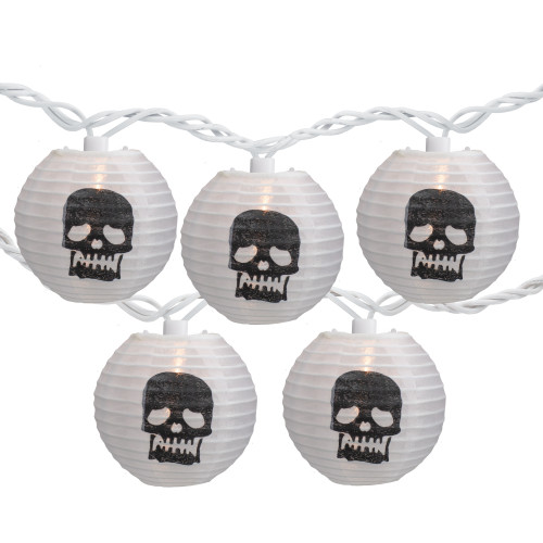 10-Count White Skeleton Paper Lantern Halloween Lights, Clear Bulbs - IMAGE 1