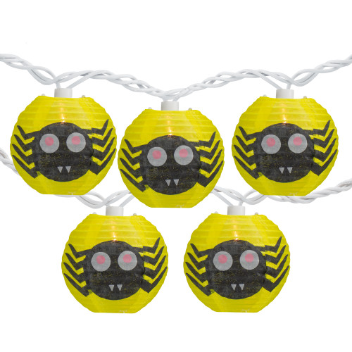 10-Count Yellow Spider Paper Lantern Halloween Lights, Clear Bulbs - IMAGE 1