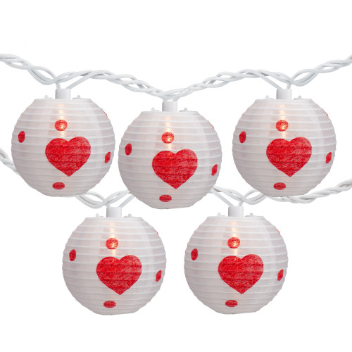 10-Count White and Red Heart Paper Lantern Valentine's Day Lights, Clear Bulbs - IMAGE 1